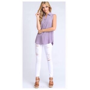 Tops - Purple Lace Up Sleeveless Blouse